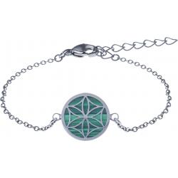 Bracelet acier - fleur de vie - malachite - diamètre 14mm - longueur 16+4cm