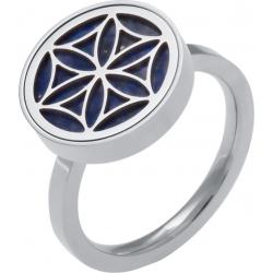 Bague en acier - fleur de vie - lapis lazuli - diamètre 14mm - T50 à 62