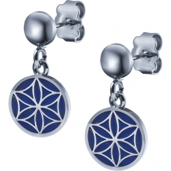 Boucles d'oreille acier - fleur de vie - lapis lazuli - diamètre 14mm
