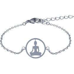 Bracelet acier - bouddha - nacre - diamètre 14mm - longueur 16+4cm