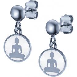 Boucles d'oreille acier - bouddha - nacre - diamètre 14mm
