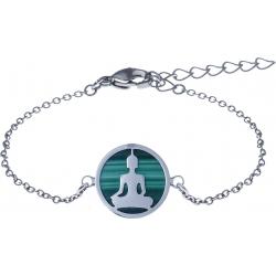 Bracelet acier - bouddha - malachite - diamètre 14mm - longueur 16+4cm