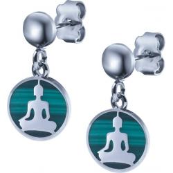 Boucles d'oreille acier - bouddha - malachite - diamètre 14mm