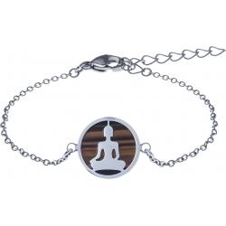 Bracelet acier - bouddha - œil de tigre - diamètre 14mm - longueur 16+4cm
