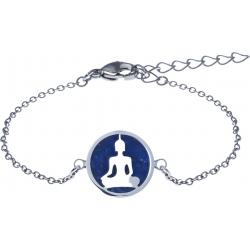 Bracelet acier - bouddha - lapis lazuli - diamètre 14mm - longueur 16+4cm
