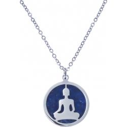 Collier acier - bouddha - lapis lazuli - diamètre 18mm - longueur 40+5cm