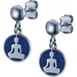 Boucles d'oreille acier - bouddha - lapis lazuli - diamètre 14mm