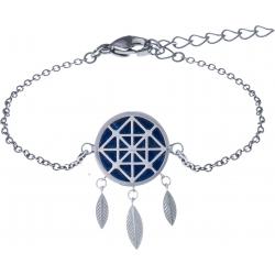 Bracelet acier - attrape-reves - lapis lazuli - diamètre 14mm - longueur 16+4cm