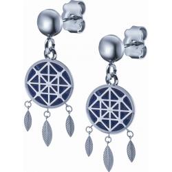 Boucles d'oreille acier - attrape-reves - lapis lazuli - diamètre 14mm