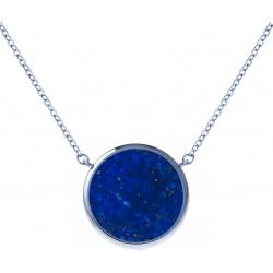 Collier acier - diamètre 12mm - lapis lazuli - 38+5cm