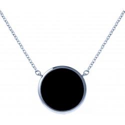 Collier acier - diamètre 12mm - onyx - 38+5cm