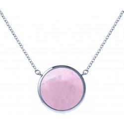 Collier acier - diamètre 12mm - quartz rose - 38+5cm