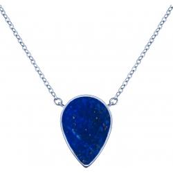 Collier acier -  goutte 14x8mm  - lapis lazuli - 38+5cm
