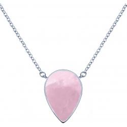 Collier acier -  goutte 14x8mm - quartz rose - 38+5cm