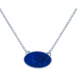 Collier acier -  oval 14x10mm - lapis lazuli - 38+5cm