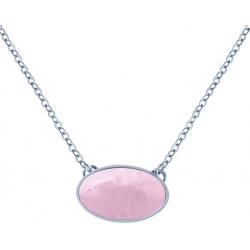 Collier acier -  oval 14x10mm- quartz rose - 38+5cm