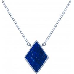 Collier acier -  losange 10x10mm - lapis lazuli - 38+5cm