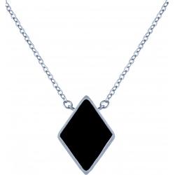 Collier acier -  losange 10x10mm - onyx - 38+5cm