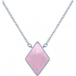Collier acier -  losange 10x10mm - quartz rose - 38+5cm