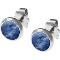 Boucles d'oreille acier 8mm - sodalite
