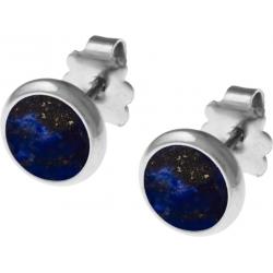 Boucles d'oreille acier 8mm - lapis lazuli