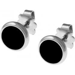 Boucles d'oreille acier 8mm - onyx