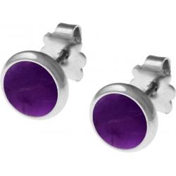 Boucles d'oreille acier 8mm - améthyste