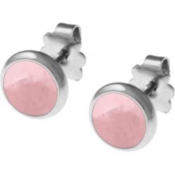 Boucles d'oreille acier 8mm - quartz rose