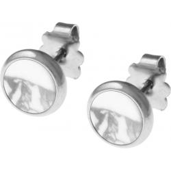 Boucles d'oreille acier 8mm - howlite blanche
