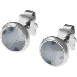 Boucles d'oreille acier 8mm - jaspe cezam