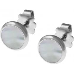 Boucles d'oreille acier 8mm - nacre