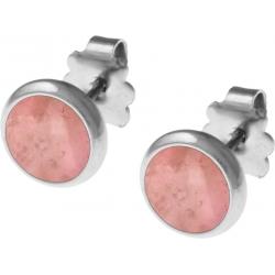 Boucles d'oreille acier 8mm - rhodonite