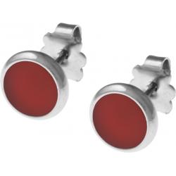 Boucles d'oreille acier 8mm - cornaline