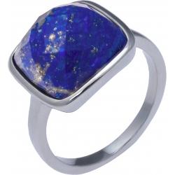 Bague acier - coussin 12x12mm - lapis lazuli facetté - T50 à T62