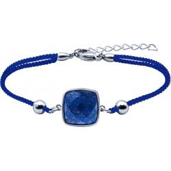 Bracelet acier coton bleu - coussin 12x12mm - lapis lazuli facetté - 16+4cm