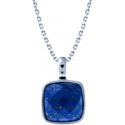 Collier acier - coussin 14x14mm -  lapis lazuli facetté - 40+10cm
