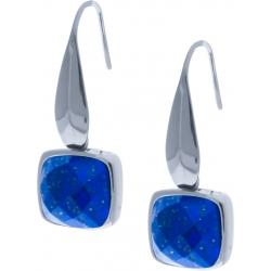 Boucles d'oreille acier - coussin 8x8mm - lapis lazuli facetté