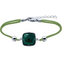 Bracelet acier coton vert - coussin 12x12mm - malachite facetté - 16+4cm