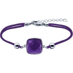 Bracelet acier coton violet - coussin 12x12mm - améthyste facetté - 16+4cm