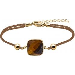 Bracelet acier doré coton marron - coussin 12x12mm - œil de tigre facetté - 16+4cm