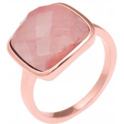 Bague acier rosé - coussin 12x12mm - quartz rose facetté - T50 à T62