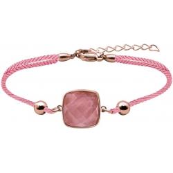 Bracelet acier rosé coton rose - coussin 12x12mm - quartz rose facetté - 16+4cm