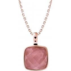 Collier acier rosé - coussin 14x14mm -  quartz rose facetté - 40+10cm