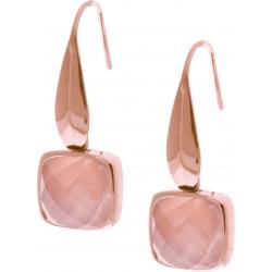 Boucles d'oreille acier rosé - coussin 8x8mm - quartz rose facetté