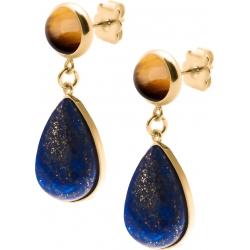 Boucles d'oreille acier doré - goutte 18mmX13mm - œil de tigre et lapis lazuli