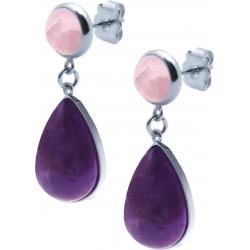 Boucles d'oreille acier - goutte 18mmX13mm - quartz rose et améthyste