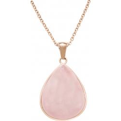 Collier acier rosé - goutte 15mmX18mm - quartz rose - 40+10cm