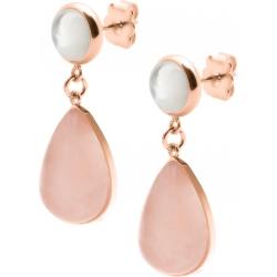 Boucles d'oreille acier rosé - goutte 18mmX13mm - nacre et quartz rose