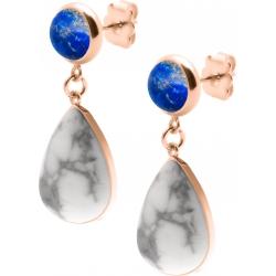 Boucles d'oreille acier rosé - goutte 18mmX13mm - lapis lazuli et howlite