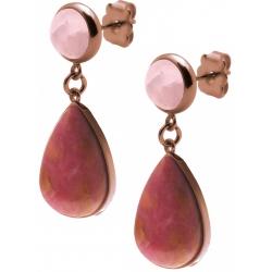 Boucles d'oreille acier café - goutte 18mmX13mm - quartz rose et rhodonite